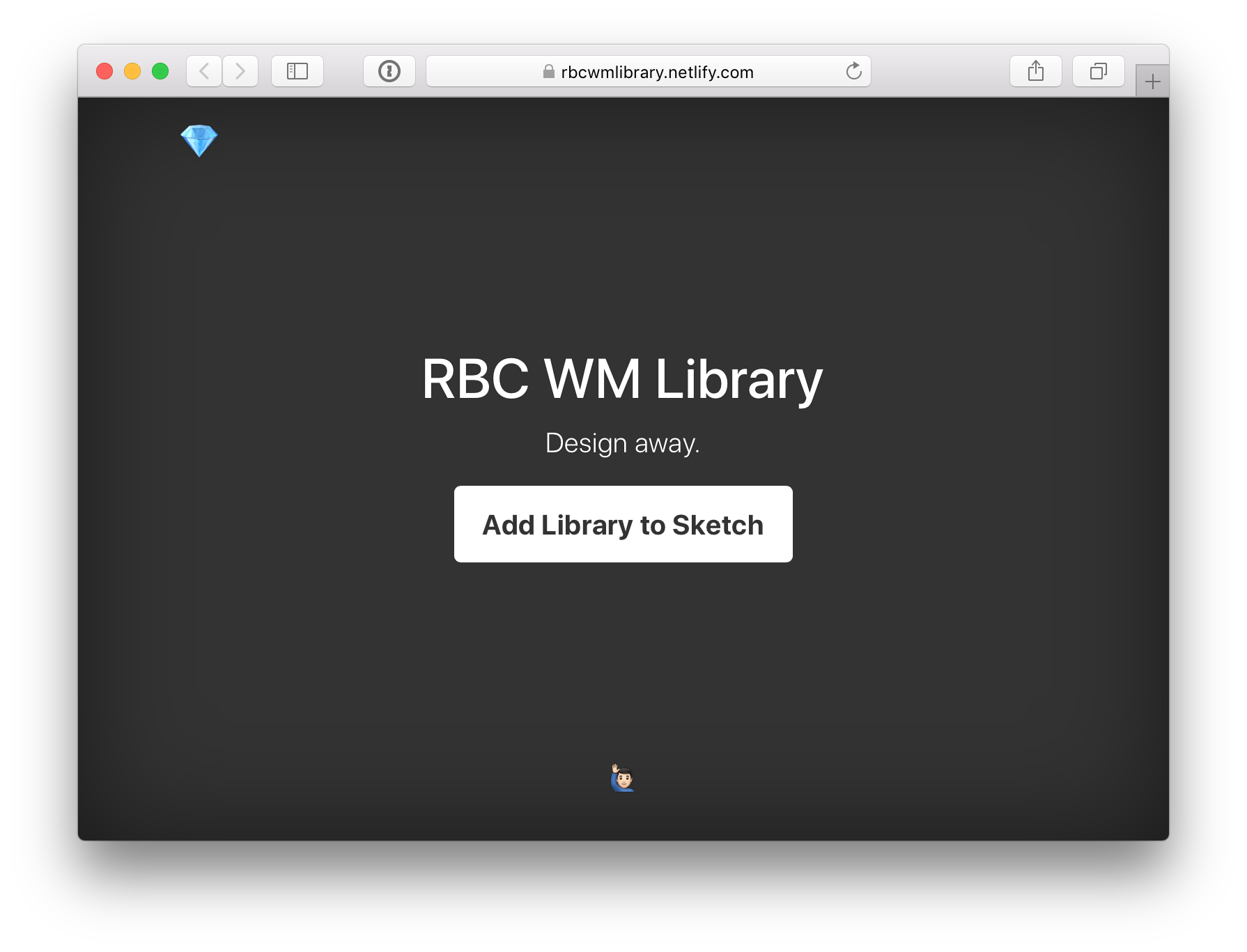 "The landing page for the library, has a prominent ""Add Library to Sketch"" button as a link in the middle of the page."